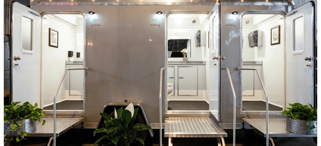 restroom trailer with doors open